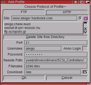The Add Profile Window